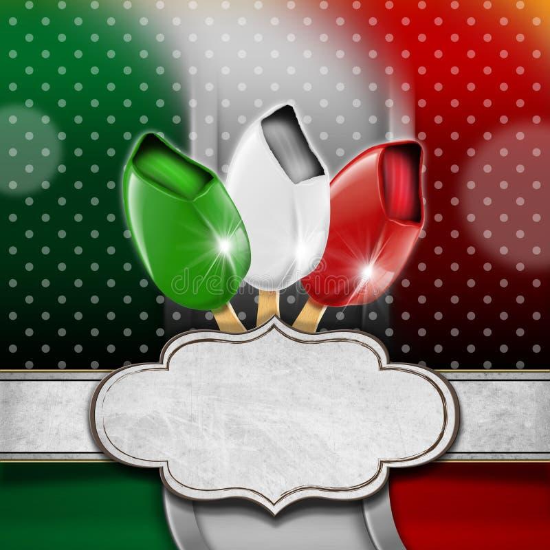 Menú italiano del helado ilustración del vector