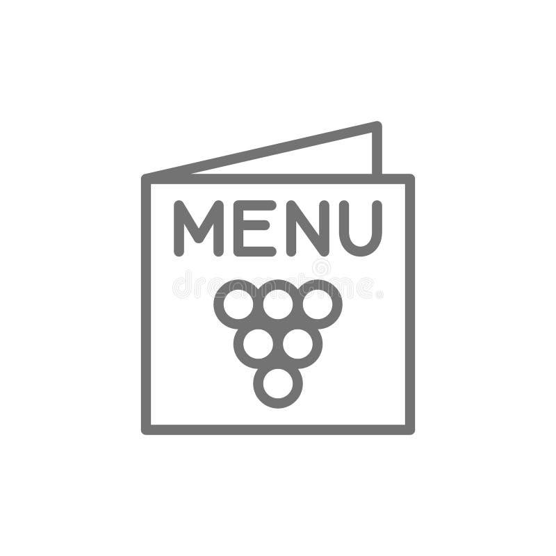 Menú, línea icono de la carta de vinos stock de ilustración
