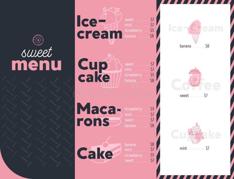 Menú moderno del postre para la identidad del restaurante La plantilla del diseño con los elementos dulces del garabato se apelma stock de ilustración