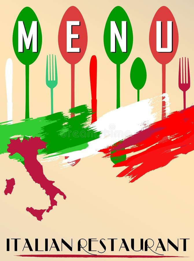 Menú para el restaurante italiano, stock de ilustración