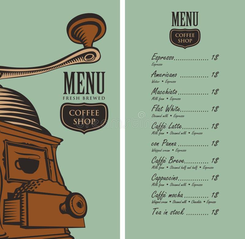 Menú para la cafetería con la amoladora y el precio de café stock de ilustración