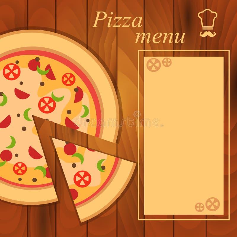 Menú para la plantilla de la pizza ilustración del vector