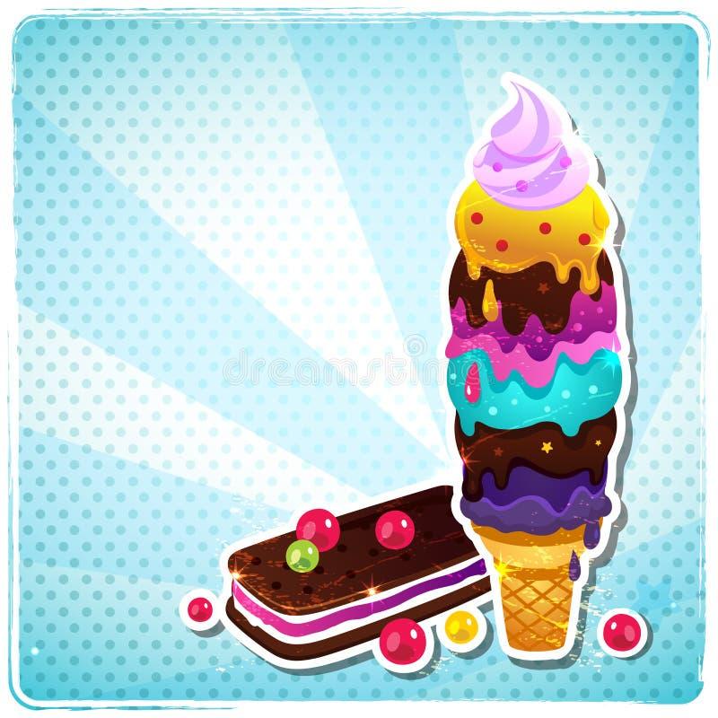Menú retro del helado libre illustration