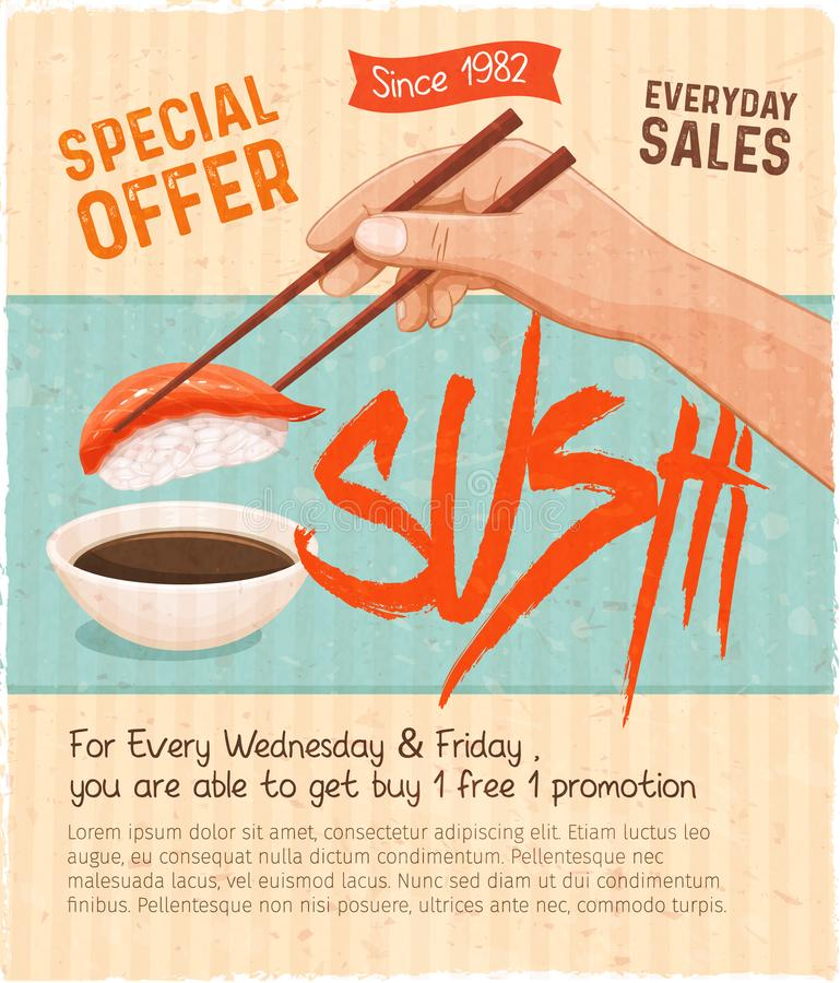 Menú retro del sushi stock de ilustración