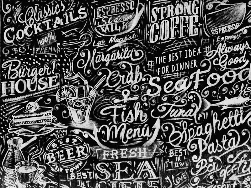 Menú y pastas de los pescados fotografía de archivo