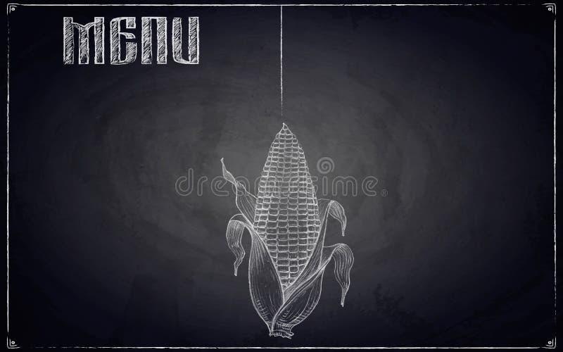 Menü des Restaurants mit Hand gezeichnetem Mais auf schwarzer Tafel zurück lizenzfreie stockfotos