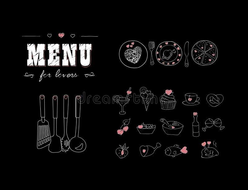 Menü für Liebhaber Nahrungsmittel mit Herzen Glücklicher Valentinstag Gekritzel-Dekorelemente Hand gezeichnet tafel lizenzfreie abbildung