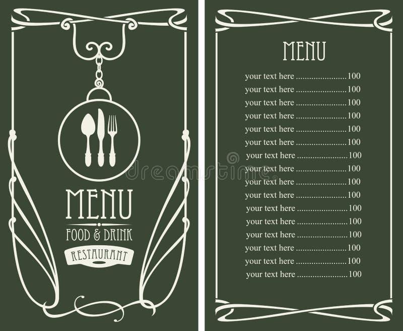Menü Für Restaurant Mit Preisliste Und Besteck Vektor Abbildung ...