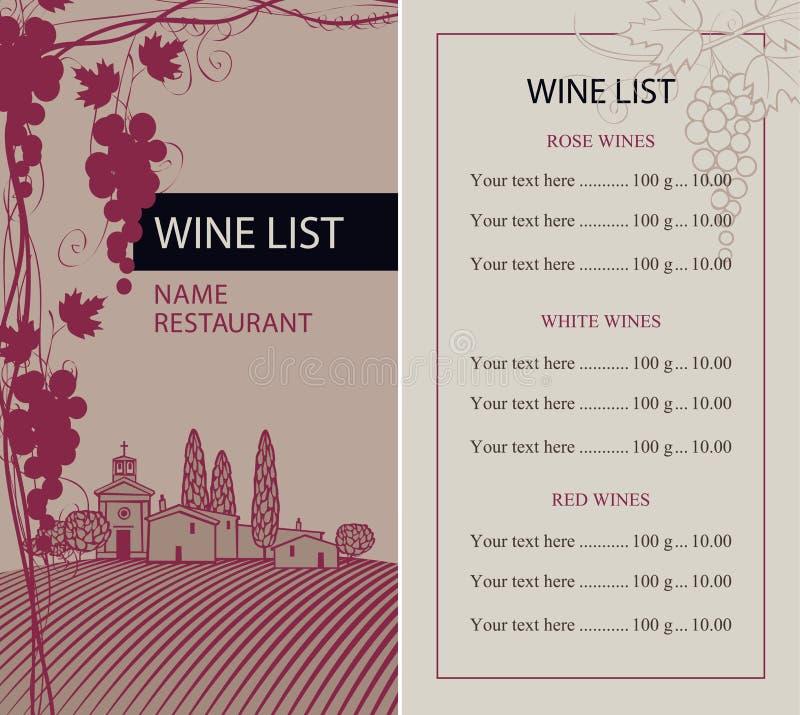 Menü für Weinliste mit Weinrebe und Landschaft lizenzfreie abbildung