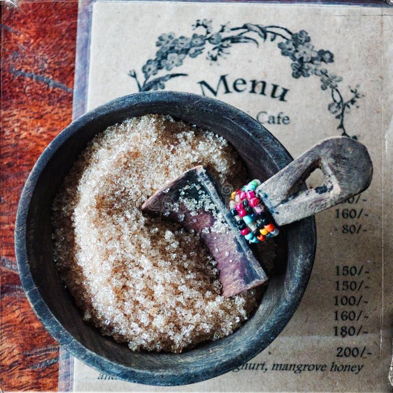 Menü-Karte und Zucker stockbilder