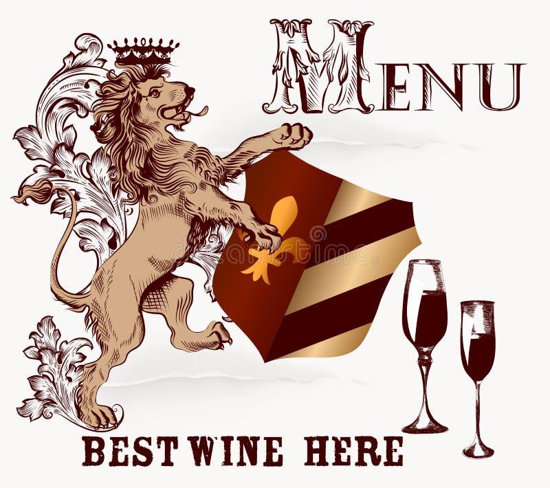 Menü oder Plakatdesign in der heraldischen Art mit Löwe und Wein vektor abbildung
