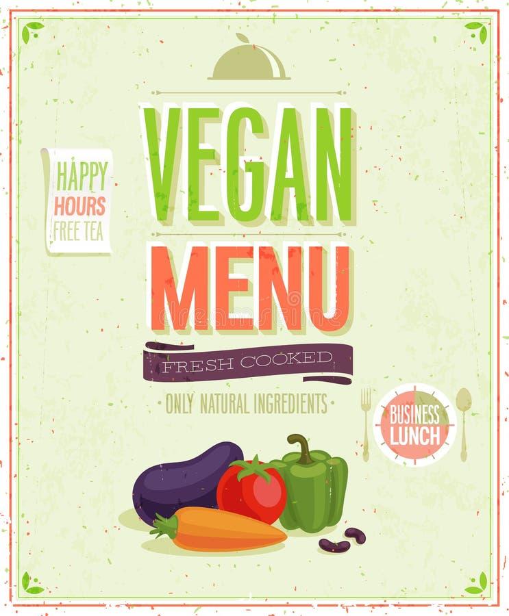 Menü-Plakat des Weinlese-strengen Vegetariers. stock abbildung