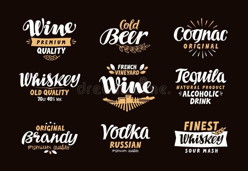 Menüleiste, Ikonen eingestellt Aufkleber von alkoholischen Getränken stock abbildung
