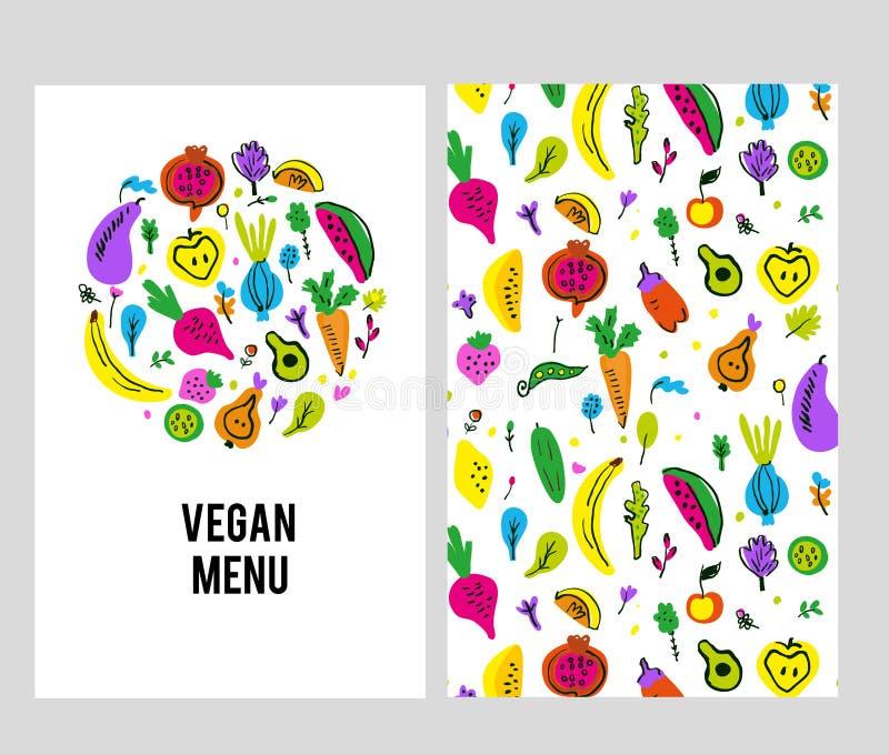 Menüschablone des strengen Vegetariers eingestellt mit Logo und Muster Auch im corel abgehobenen Betrag stockbild