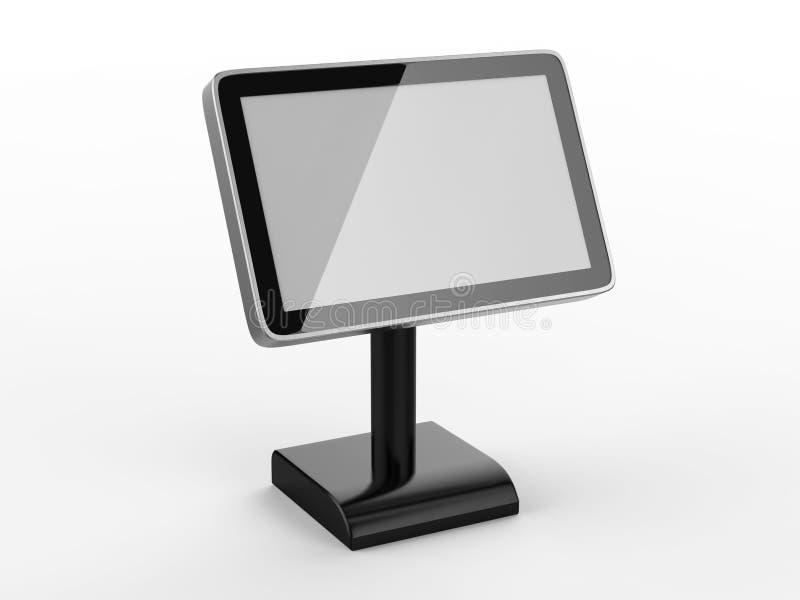 Menütischplatte Noten-Kiosk der 10 Zoll LCD-übertragen Acryltabellen-Stand-digitalen Beschilderung für Restaurant, 3d Illustratio stock abbildung