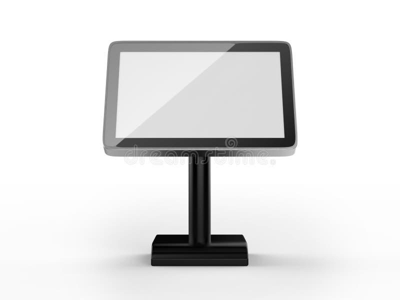 Menütischplatte Noten-Kiosk der 10 Zoll LCD-übertragen Acryltabellen-Stand-digitalen Beschilderung für Restaurant, 3d Illustratio lizenzfreie abbildung