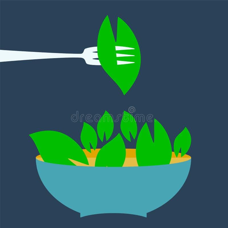 Menütitel-Logoschablone des biologischen Lebensmittels lizenzfreie abbildung
