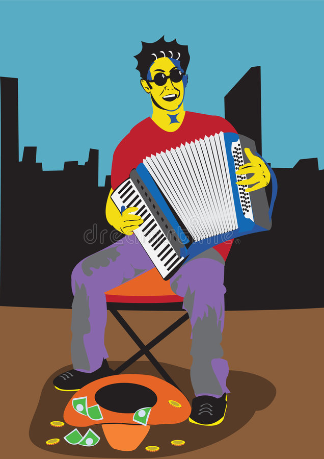 A men with accordion. Vector illustration of a man sitting outside, playing accordion and singing, with his cowboy hat in front of him vector illustration