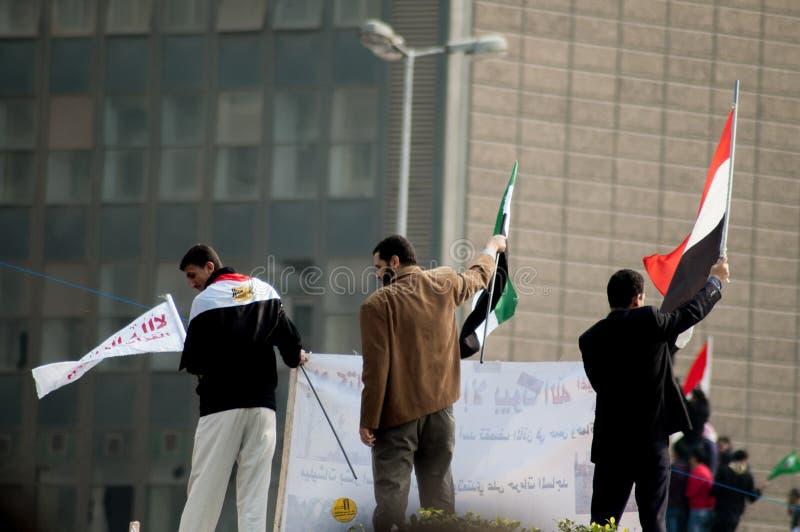Men in the Arab revolution stock image