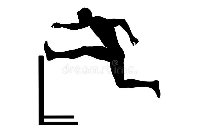 Men athlete runner. Run hurdles attack black silhouette vector illustration