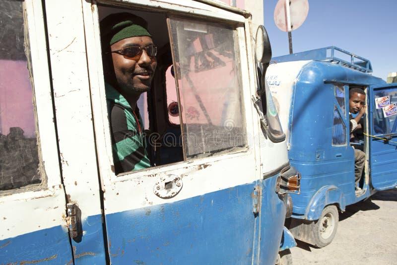 Men in auto rickshaws, Ethiopia stock image