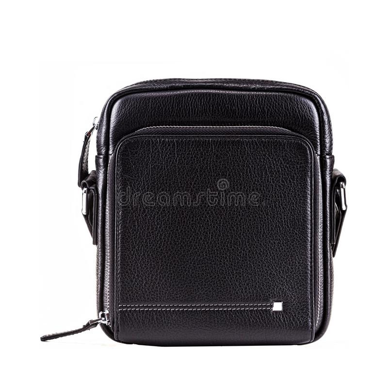 Men bag black color on white background, fashion and accessory concept. royalty free stock photography