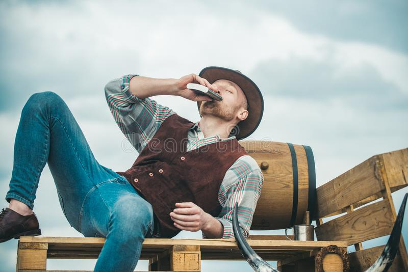 Men beauty standard. Example of true masculinity. Cowboy wearing hat. Western life. Unshaven guy in cowboy hat and stock photos