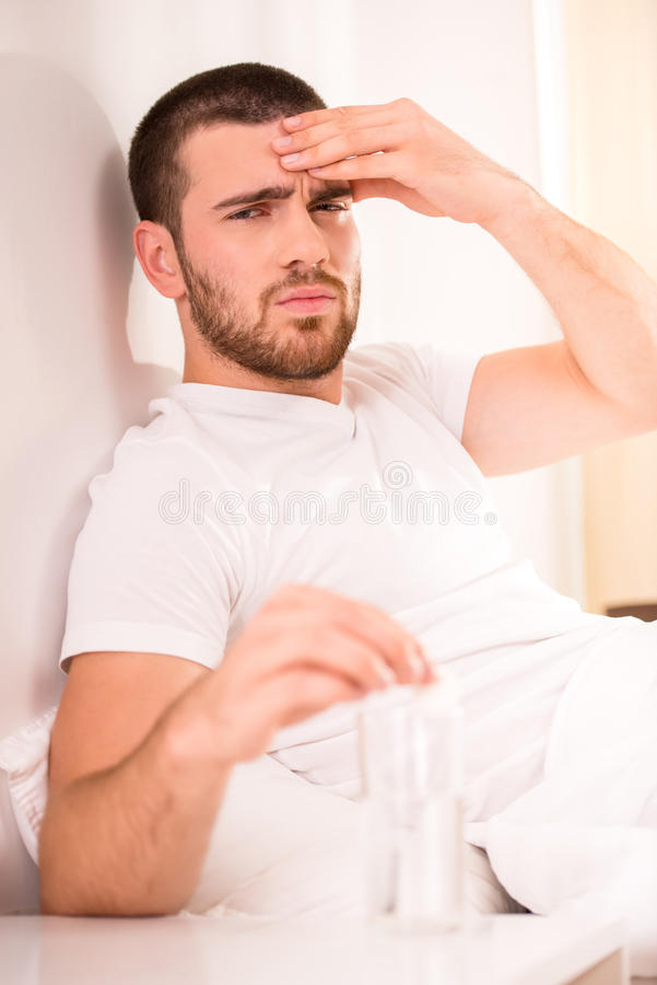 Men in bed royalty free stock images