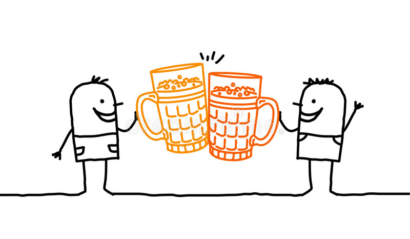 Men & beer. Vector hand-drawn characters on line vector illustration