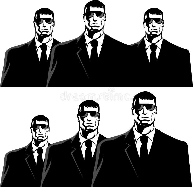 Men in black. Three men in black suits. The secret service or mafia stock illustration