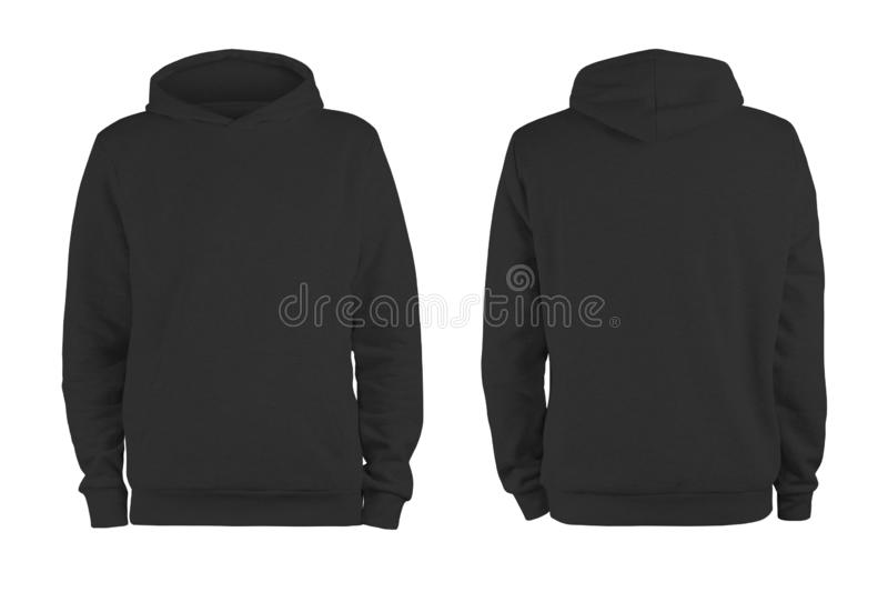 Men black blank hoodie template,from two sides, natural shape on invisible mannequin, for your design mockup for print, isolated o royalty free stock image