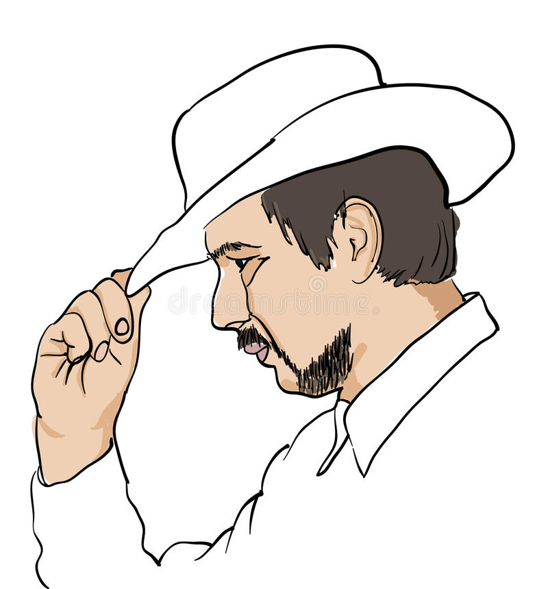 Download Men In Black Hat Over White Stock Vector - Illustration of males, head: 12093436