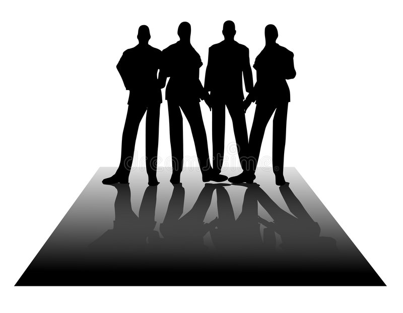 Men in Black Standing Business Silhouettes vector illustration