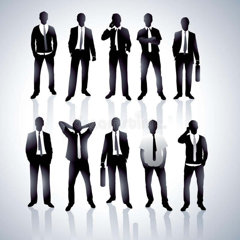 Men in black suits. Illustration set of men wearing black suits in various poses royalty free illustration