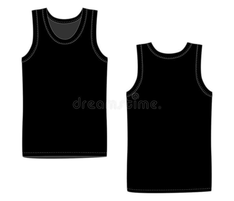 Men black vest underwear. White tank top in front and back views vector illustration