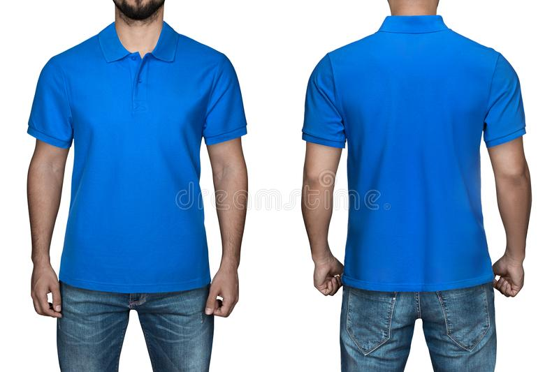 Men in blank blue polo shirt, front and back view, white background. Design polo shirt, template and mockup for print. Men in blank blue polo shirt, front and stock photos