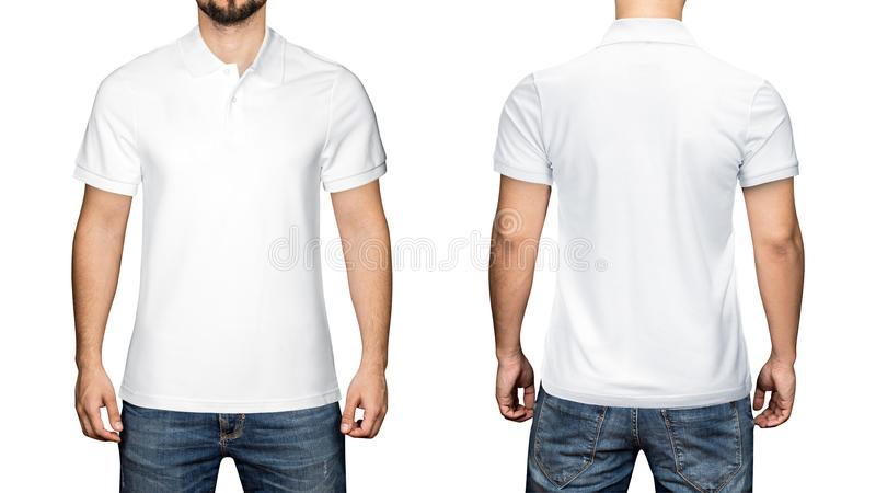 Men in blank white polo shirt, front and back view, white background. Design polo shirt, template and mockup for print. Men in blank white polo shirt, front and royalty free stock image