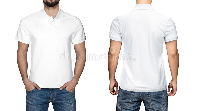 Men in blank white polo shirt, front and back view, white background. Design polo shirt, template and mockup for print. Men in blank white polo shirt, front and stock photo