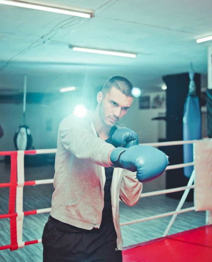 Men boxer doing shadow boxing royalty free stock image