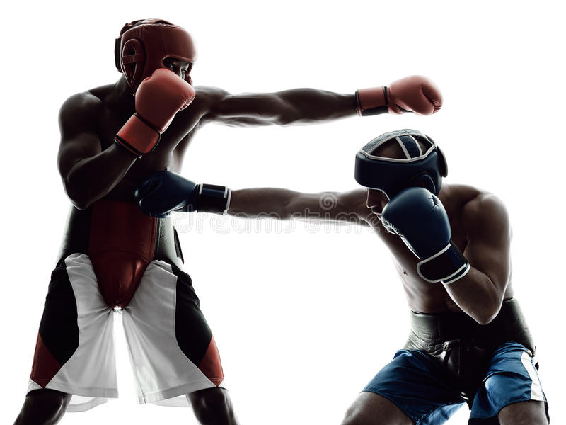 Men boxers boxing isolated silhouette royalty free stock photos