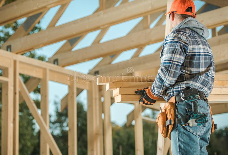 Men Building Wood House stock images