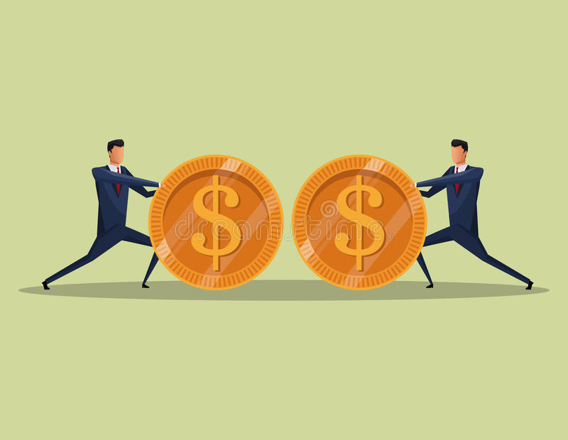 Men business concept finance money coins team vector illustration