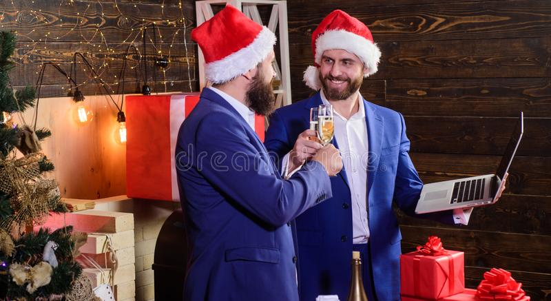 Men business partners drink champagne. Celebration concept. Celebrate successful year. Business people drink champagne stock photo