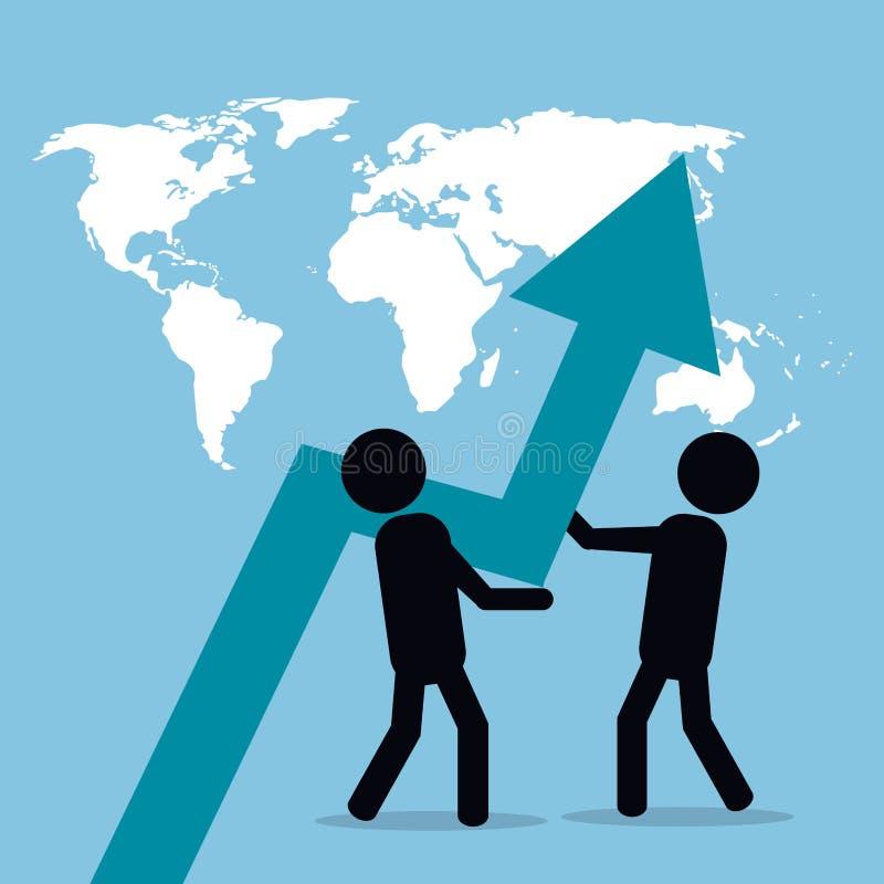 Men business pushing arrow growth globe royalty free illustration