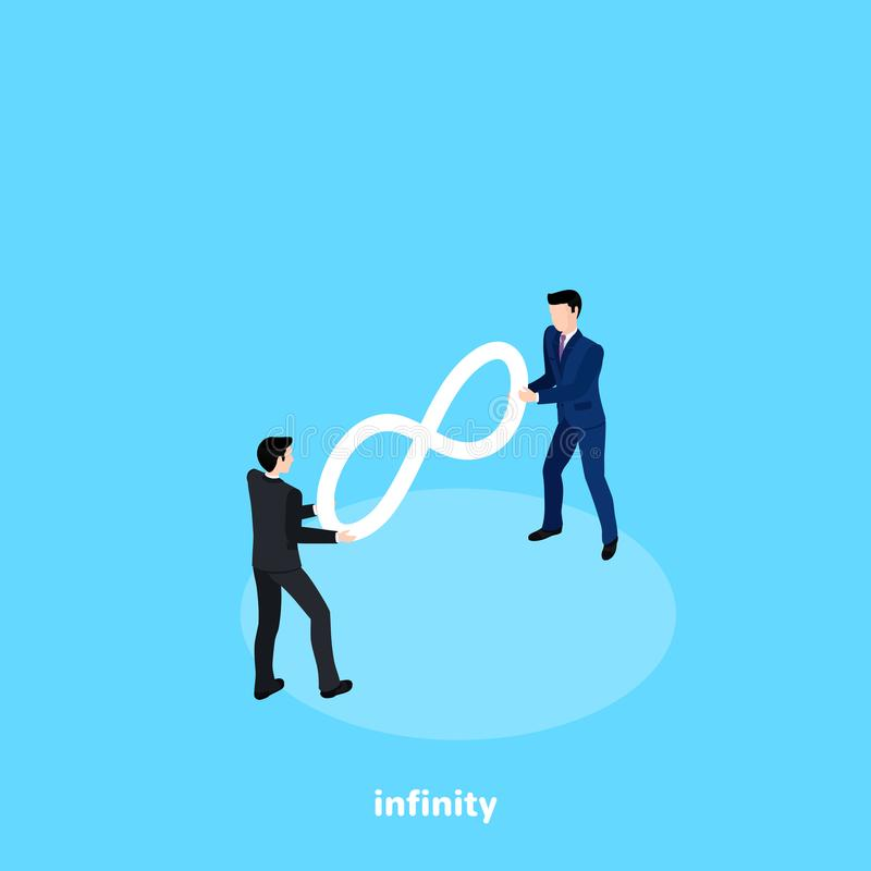 Men in business suits draw the sign of infinity. Isometric image royalty free illustration