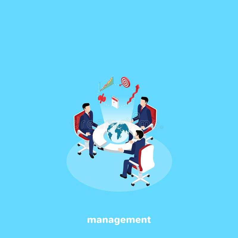 Men in business suits are sitting at a round table with a globe in the center royalty free illustration