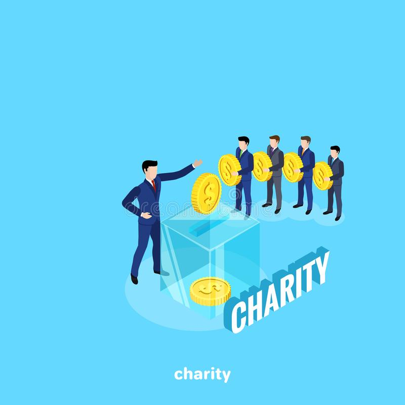 Men in business suits stand in line to make a charitable contribution and a glass box as a tool for collecting money stock illustration