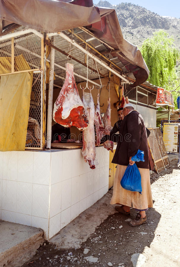 Men in a butcher Moors stock photography