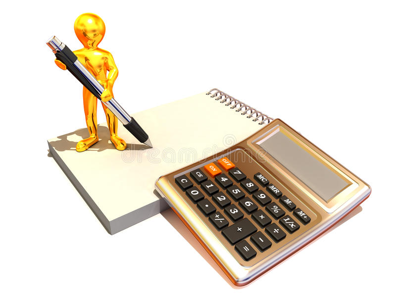 Men with calculator and notebook. 3d Very beautiful three-dimensional illustration royalty free illustration