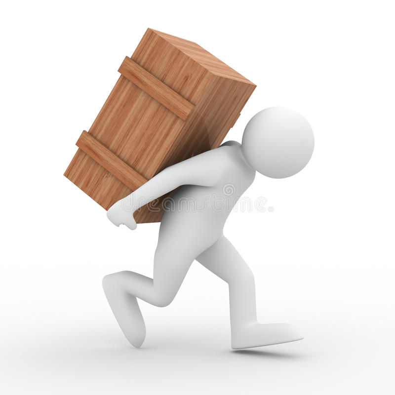 Download Men carry box on back stock illustration. Illustration of brown - 11893661